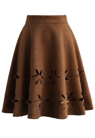 skirt dancing flower cutout suede a-line skirt in tan chicwish tan a-line