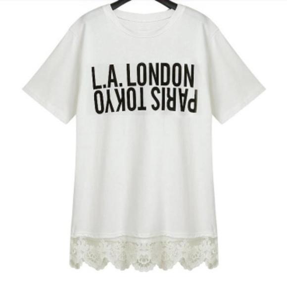 top lace shirt los angeles tokyo paris london l.a. to tokyo t-shirt casual chic
