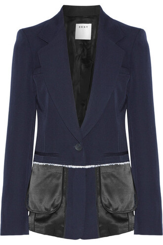 blazer blue wool satin jacket