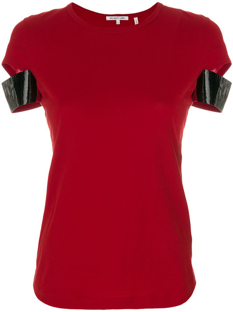 Helmut Lang - contrast sleeve T-shirt - women - Cotton/Polyurethane - L, Red, Cotton/Polyurethane