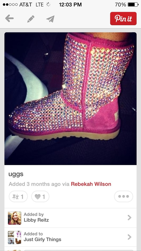 shoes ugg boots pink rhinestones ugg boots