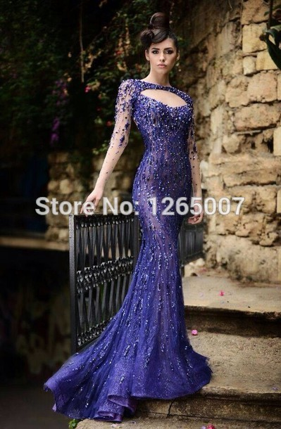 Aliexpress.com : Buy 2014 Sweetheart Long Sleeves Sparkly Rhinestone Beaded Mermaid Evening Dress Formal Maxi Dress Long from Reliable dress glove suppliers on SFBridal