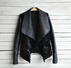 Online Shop Spring & Winter 2014 Hot Sell New European and American Fashion Women Fur Coat Slim Short PU Leather Jacket Women Black WT4427|Aliexpress Mobile