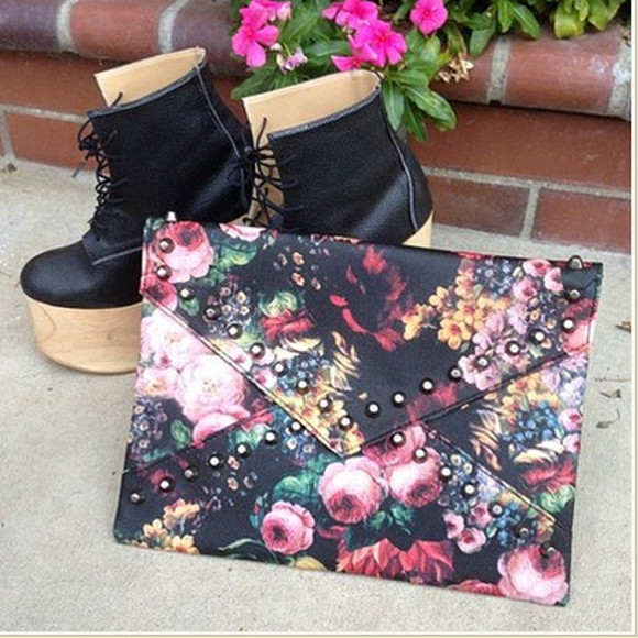 bag clutch floral clutch floral bag cute clutch cute bag dress, shoes, bag, necklace, love, cute, party