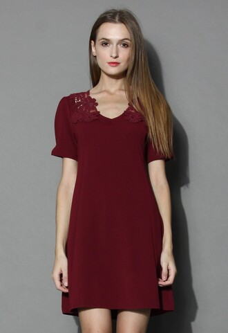 chicwish delicate lace back wine flare dress