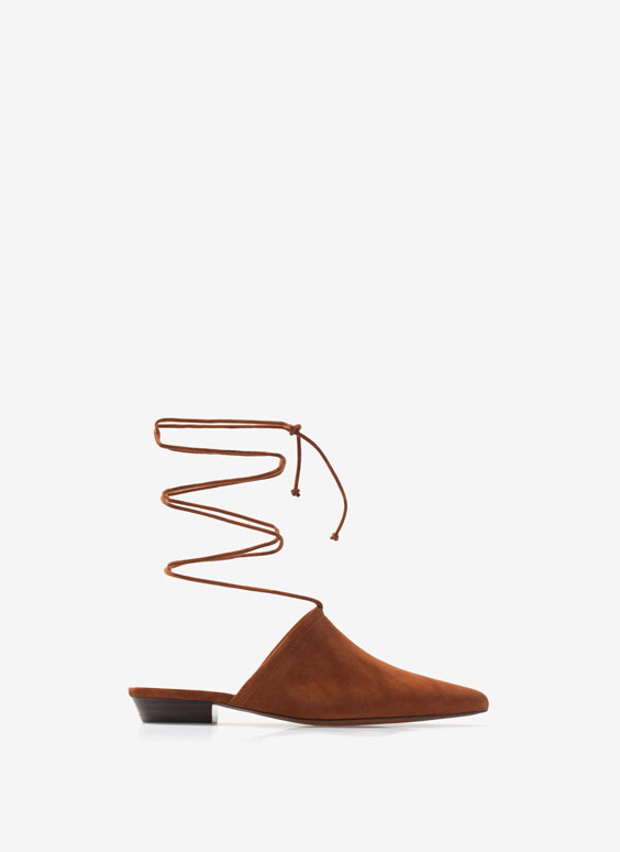 Lace-up suede babouches - Flat Shoes - Footwear - Uterqüe France