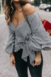 shirt,tumblr,black and white,checkered shirt,checkered,off the shoulder,puffed sleeves,bag,red bag,gucci,gucci bag,jeans,black jeans,crescent pendant,necklace,gold necklace,jewels,jewelry,accessories,Accessory,horn necklace,lady addict,blogger