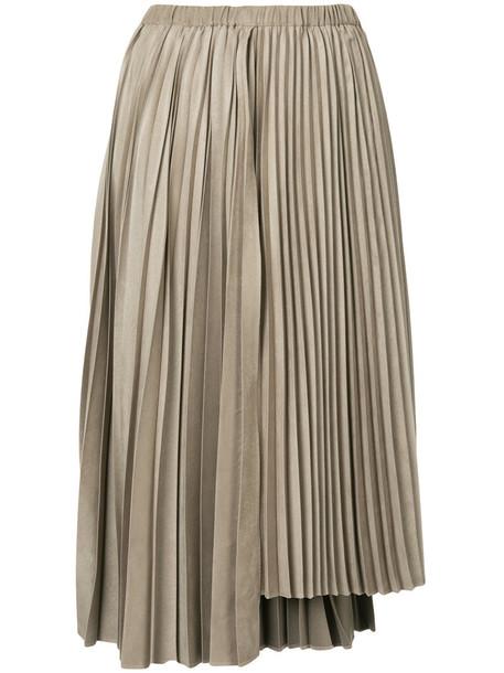 Estnation skirt pleated skirt pleated women brown