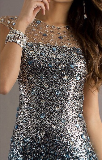 dress prom dress strass paillettes l glitter dress evening dress gray gray