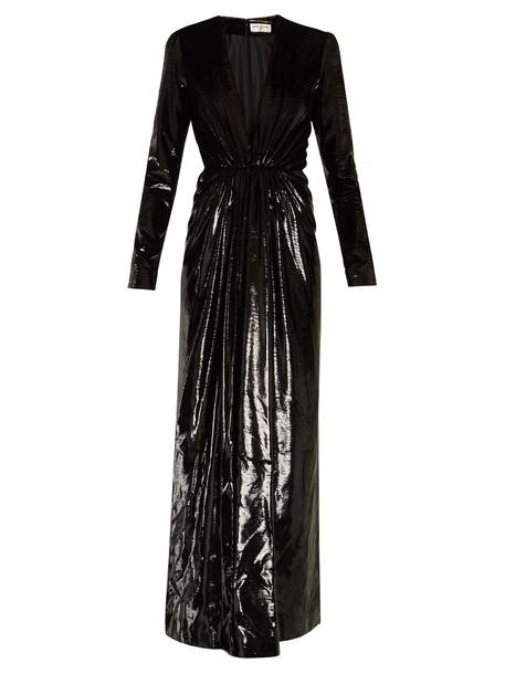 Saint Laurent gown velvet black dress