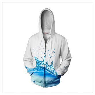 jacket hoodie sweater sweatshirt top blouse white water splash blue white hoodie zip