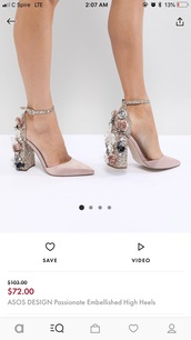 shoes,light mauve asos design  passionate  embellished high heels