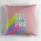 'grl pwr x pink' throw pillow by frankieprintco