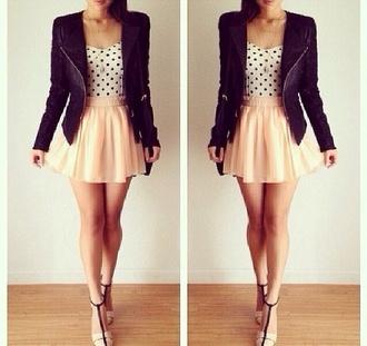 jacket perfecto summer outfits pink shirt cute blouse skirt simple girly polka dots high heels tan spring pastel perfect adorable bla