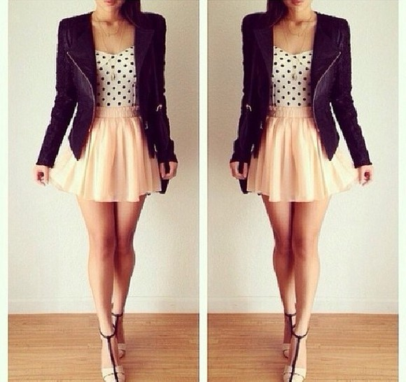 shirt jacket leather black perfecto skirt blouse pink cute simple girly dots ariana grande high heels tan summer spring pastel katy perry perfect adorable bla