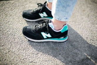 shoes black new balance white jeans casual shoes casual