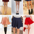Sexy Womens Stretch Waist Pleated Jersey Plain Skater Flared Mini Skirt