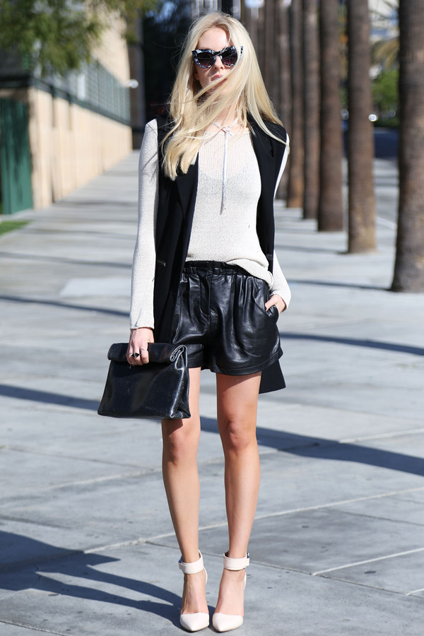 cheyenne meets chanel shorts sweater jacket shoes jewels sunglasses
