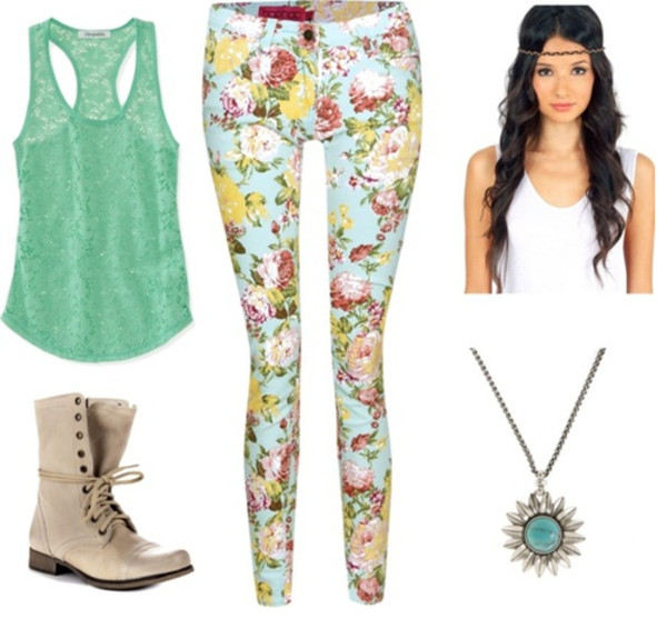 pants floral mint white top necklace shoes shirt crop tops jeans jewels skinny jeans leggings bag