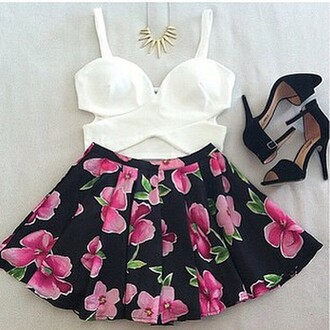 skirt floral skirt spring outfits summer fashion blouse shoes