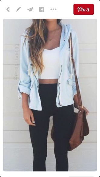 top jacket crop tops cardigan white crop tops coat summer top fashion light blue jacket blue light blue zip up jacket cotton fall jacket cute utility baby blue hooded shirt white tank top blue jacket hipster teenagers girl girly basic chill white chic windbreaker zip hood