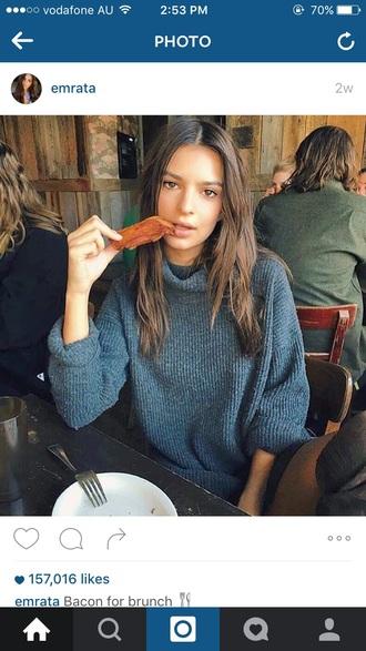 sweater knitwear knitted sweater jumper emily ratajkowski turtleneck grey