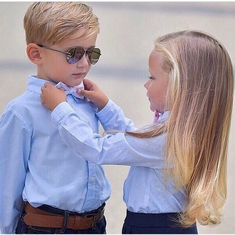 sunglasses boy cute couple sweaters couples shirts couples sweet glasses blouse blue shirt strik bows blonde hair blonde girl kids fashion