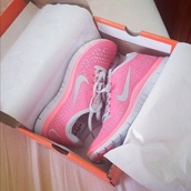 shoes,nike,coral,white,running,blogger,brands,nike running shoes,nike free run,air max,nike shoes,running shoes,nike pink orange green fluro neon want need buy sport running jogging lorna jane athletics,nike air force 1