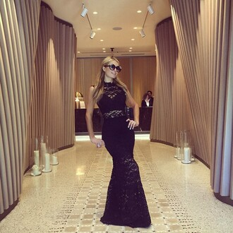 dress lace dress black dress maxi dress paris hilton sunglasses instagram underwear