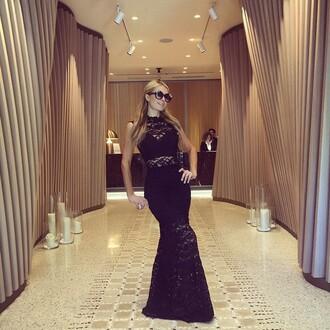 dress lace dress black dress maxi dress paris hilton sunglasses instagram underwear