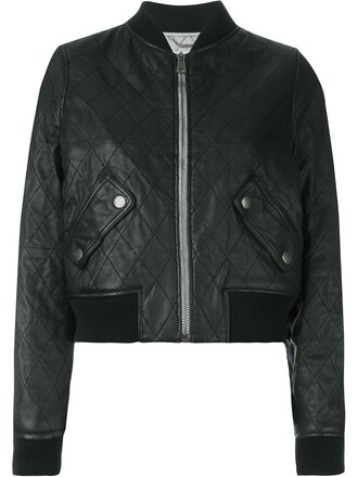 jacket bomber jacket quilted leather black