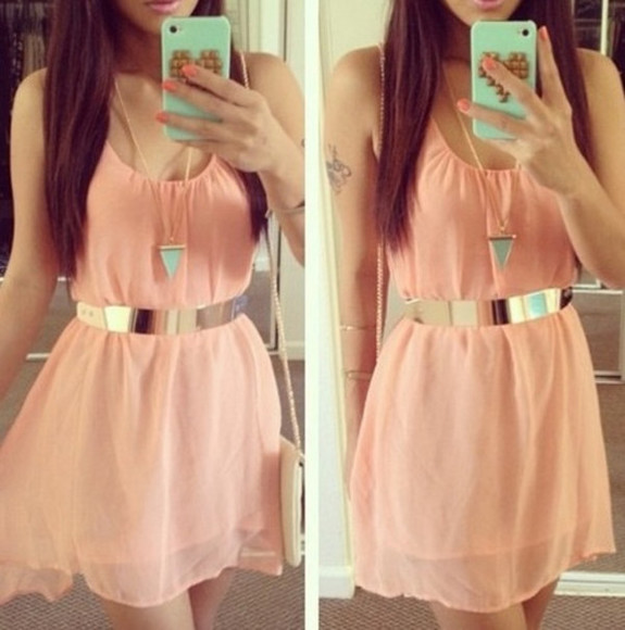 orange cute dress girly
