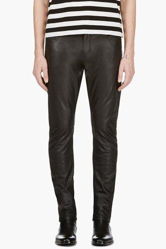 faux leather black pants clothes menswear denim cut