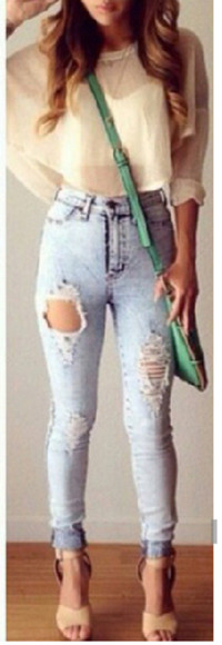 bag jeans acid wash blouse purse high heels
