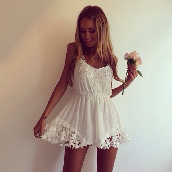 dress white dress lace dress chiffon flowers summer dress