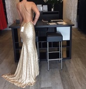 dress,open back dresses,gold dress,long dress,prom dress,gown,gold,prom,luxury,gold sequins