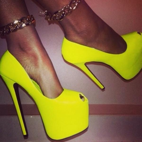 shoes neon green jewels yellow neon heels peep toe neon yellow heels