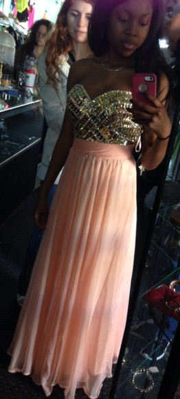 dress prom pretty long prom dresses peach peach dresses peach/pink, long gems long flowing