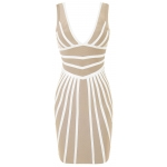 Clothing : Bandage Dresses : 'Anahi' Beige & White Leatherette Bandage Dress
