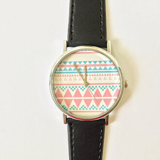 jewels watch handmade style fashion vintage etsy freeforme aztec pattern tribal pattern summer spring father's day fathers day gift ideas