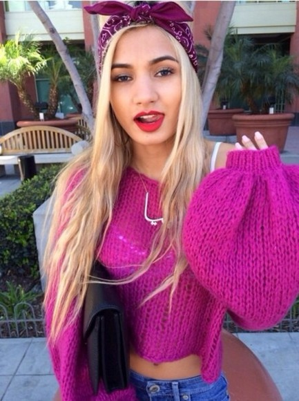sweater cute knit knitted sweater cute sweater knitted jumper purple pink pia mia princess pia mia