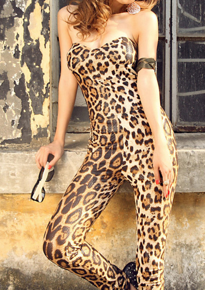 leopard print fashion jumpsuit