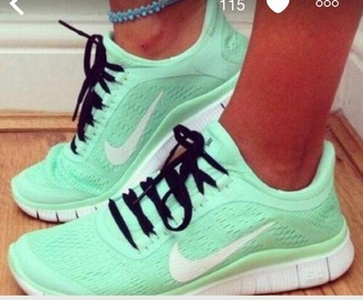 shoes running shoes mint green shoes style fashion dress nike running shoes nike shoes nike sneakers nike free run nike air running workout shoes hippie hipster