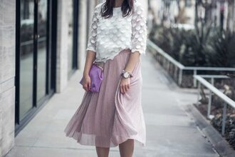 shoes live more beautifully bag blogger jewels skirt sunglasses top midi skirt clutch white top
