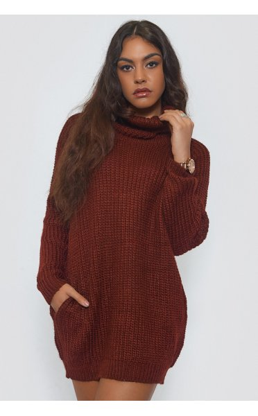 Oversized Burgundy Pocket Jumper - from The Fashion Bible UK