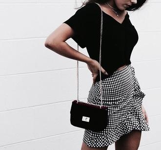 skirt plaid skirt black and white mini skirt
