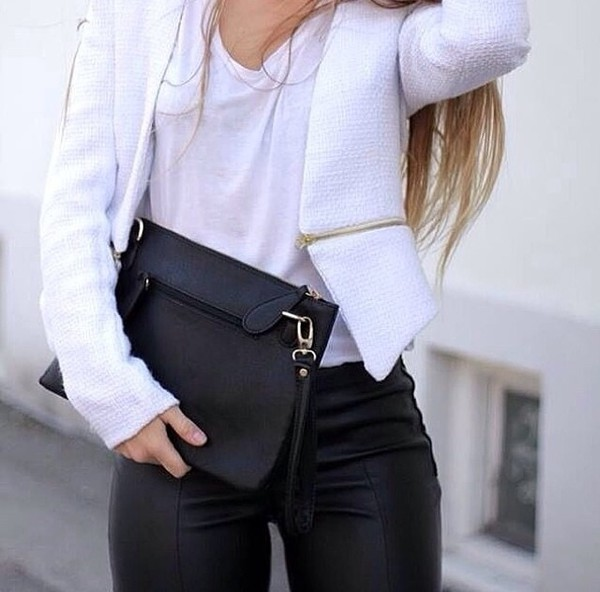 jeans white black jacket