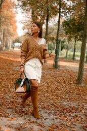shoes,brown boots,camel sweater,skirt,white skirt,tumblr,boots,over the knee,sweater,mini skirt,button up,bag