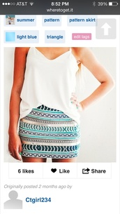 skirt,light blue,triangle,tribal pattern,pencil skirt