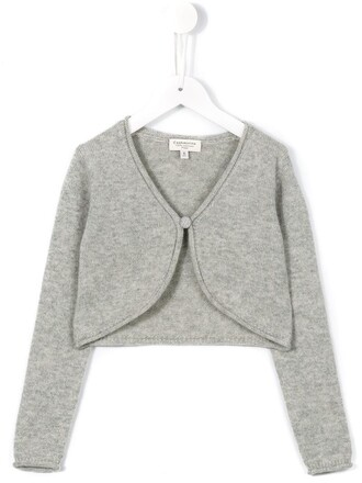 cardigan girl cropped grey sweater